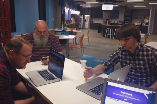 Doug, John, and Oliver at Homebrew Website Club DC